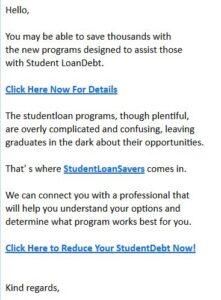 student loan spam
